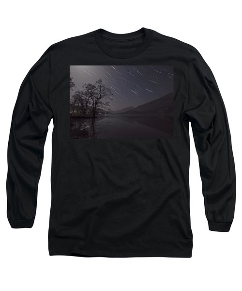 Star Trails Over Lake Long Sleeve T-Shirt