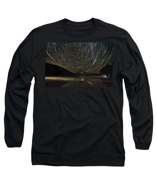 Star Trails Over Mount Hood At Trillium Lake Long Sleeve T-Shirt