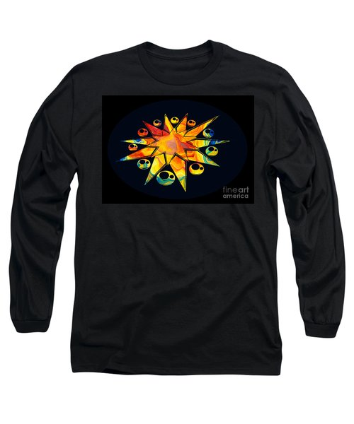 Long Sleeve T-Shirt featuring the painting Staring Into Eternity Abstract Stars And Circles by Omaste Witkowski