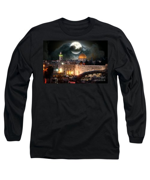 Full Moon At The Dome Of The Rock Long Sleeve T-Shirt
