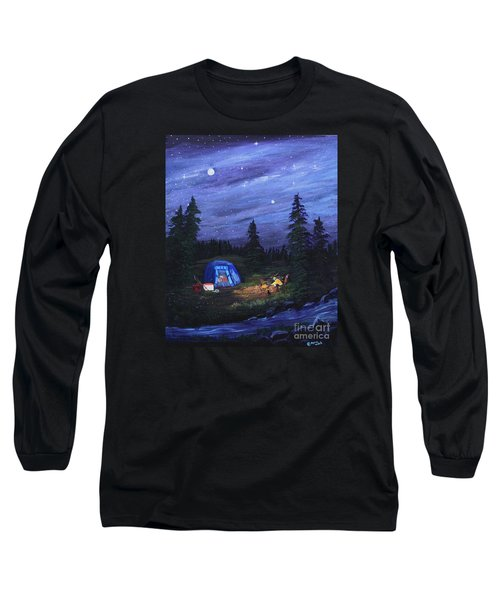 Long Sleeve T-Shirt featuring the painting Starry Night Campers Delight by Myrna Walsh