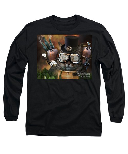 Steampunk Cat Long Sleeve T-Shirt by Juli Scalzi