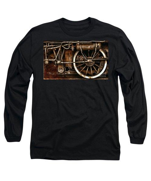 Steampunk- Wheels Of Vintage Steam Train Long Sleeve T-Shirt