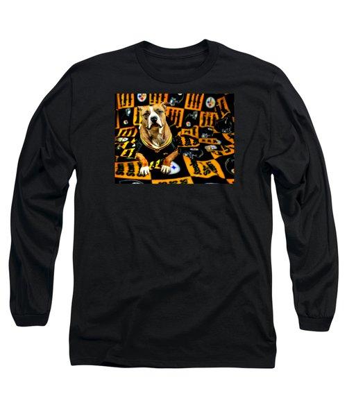 Pitbull Rescue Dog Football Fanatic Long Sleeve T-Shirt by Shelley Neff