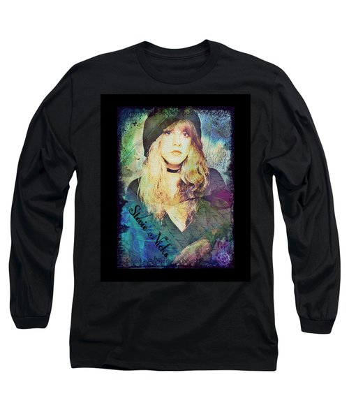 Stevie Nicks - Beret Long Sleeve T-Shirt by Absinthe Art By Michelle LeAnn Scott