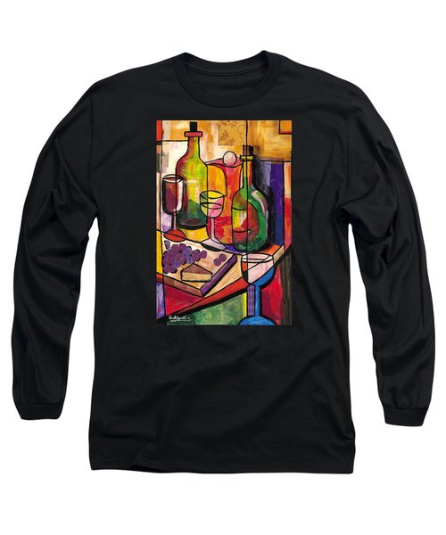 Still Life Of Fruit Wine And Cheese Long Sleeve T-Shirt