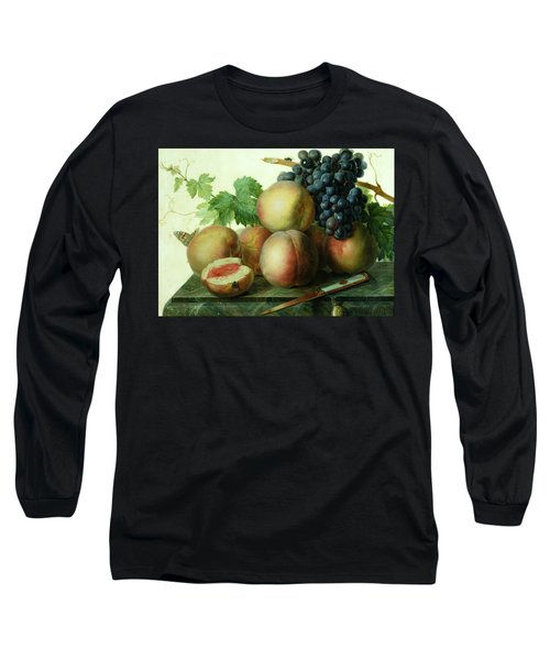 Still Life With Peaches And Grapes On Marble Long Sleeve T-Shirt