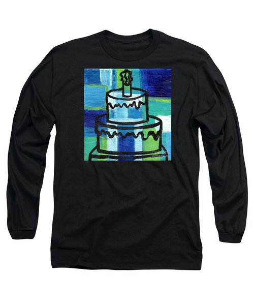 Stl250 Birthday Cake Blue And Green Small Abstract Long Sleeve T-Shirt by Genevieve Esson