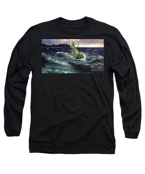 Long Sleeve T-Shirt featuring the digital art Storm At Dubrovnik by Lianne Schneider