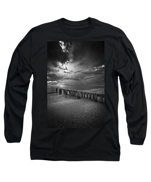 Storm Over Naples Florida Beach Long Sleeve T-Shirt by Bradley R Youngberg