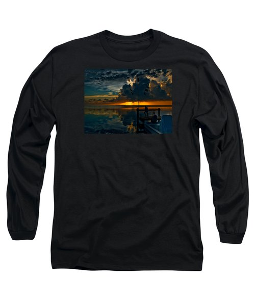 Sunset Tropical Storm And Watcher In Florida Keys Long Sleeve T-Shirt