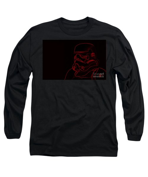 Long Sleeve T-Shirt featuring the digital art Stormtrooper In Red by Chris Thomas