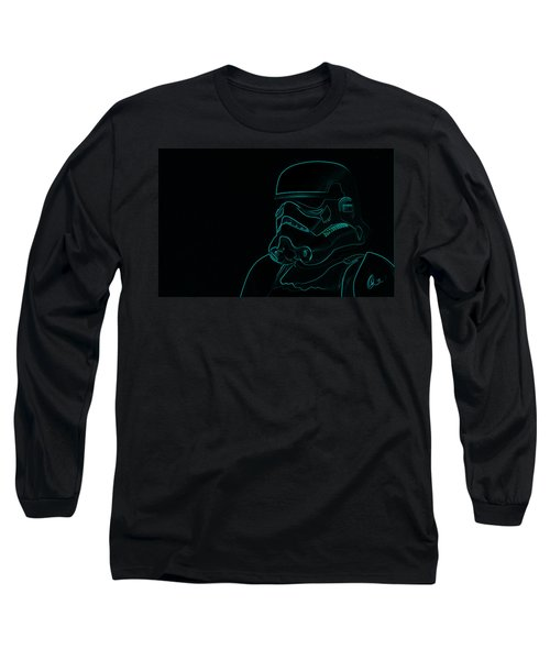 Long Sleeve T-Shirt featuring the digital art Stormtrooper In Teal by Chris Thomas