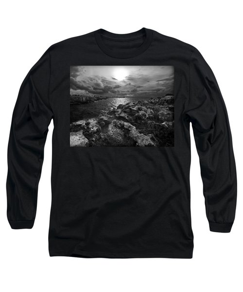 Blank And White Stormy Mediterranean Sunrise In Contrast With Black Rocks And Cliffs In Menorca  Long Sleeve T-Shirt by Pedro Cardona