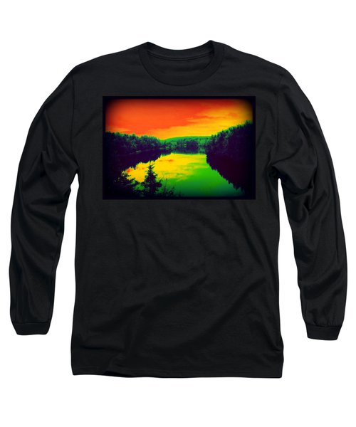 Long Sleeve T-Shirt featuring the digital art Strange River Scene by Jason Lees