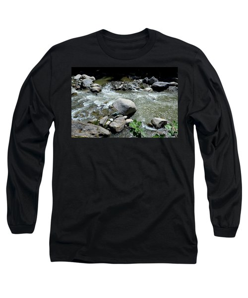 Long Sleeve T-Shirt featuring the photograph Stream Water Foams And Rushes Past Boulders by Imran Ahmed
