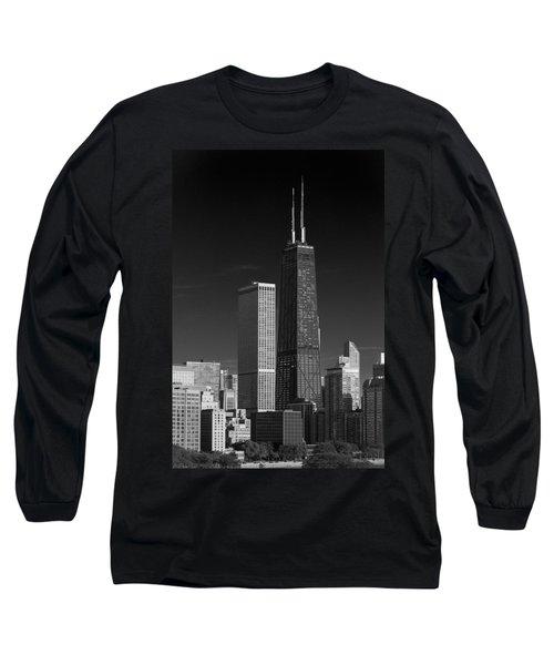 Streeterville Chicago Illinois B W Long Sleeve T-Shirt