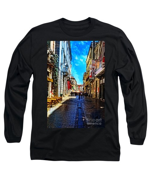 Streets Of Lisbon 1 Long Sleeve T-Shirt by Mary Machare