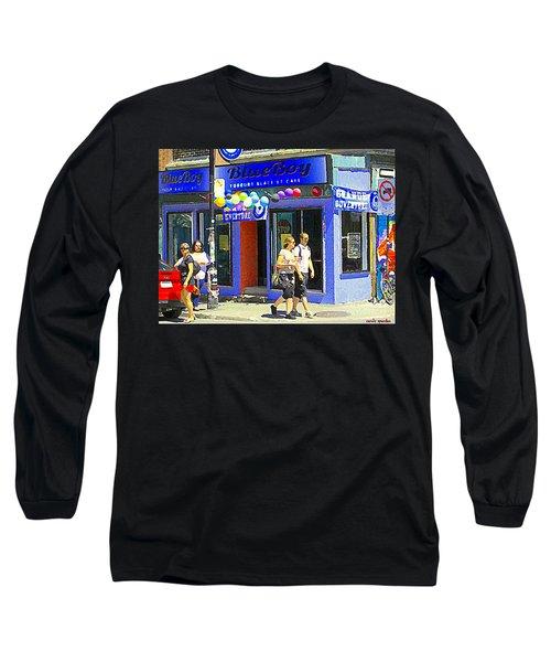 Strolling By The Blue Boy Frozen Yogurt Glacee Cafe Plateau Mont Royal City Scene Carole Spandau   Long Sleeve T-Shirt