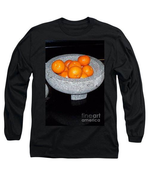 Study In Orange And Grey Long Sleeve T-Shirt by Susan Williams