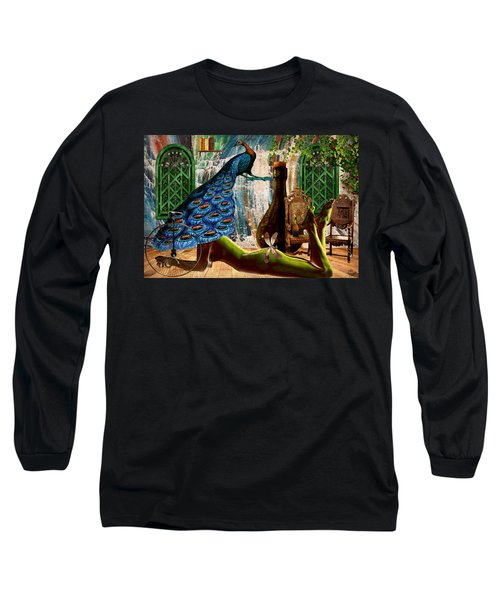 Long Sleeve T-Shirt featuring the painting Suck My Peacock by Ally  White