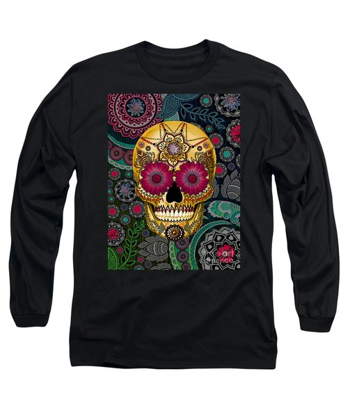 Sugar Skull Paisley Garden - Copyrighted Long Sleeve T-Shirt