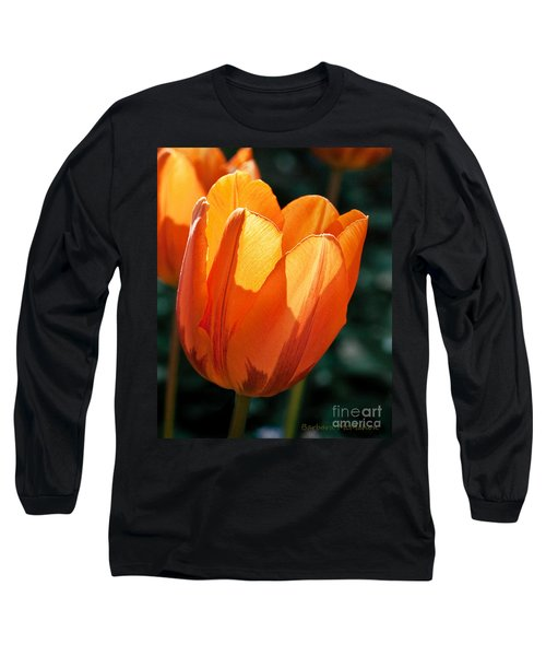 Long Sleeve T-Shirt featuring the photograph Sun Kissed Tulip by Barbara McMahon