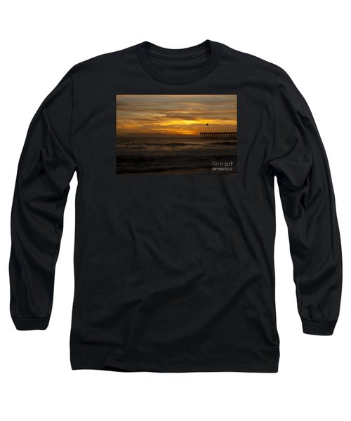 Long Sleeve T-Shirt featuring the photograph Sun Setting Behind Santa Cruz With Ventura Pier 01-10-2010 by Ian Donley