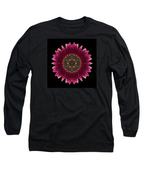 Sunflower Moulin Rouge I Flower Mandala Long Sleeve T-Shirt by David J Bookbinder