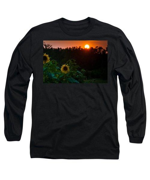 Sunflower Sunset Long Sleeve T-Shirt by Cheryl Baxter