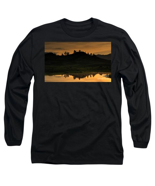 Long Sleeve T-Shirt featuring the photograph Sunrise Behind A Yellowstone Ridge by Bill Gabbert