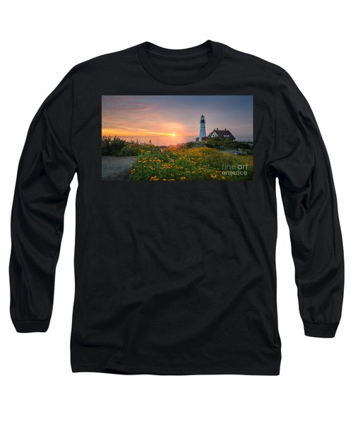 Sunrise Bliss At Portland Lighthouse Long Sleeve T-Shirt