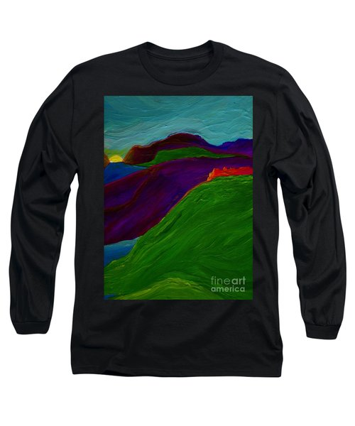 Long Sleeve T-Shirt featuring the painting Sunrise Castle By Jrr by First Star Art