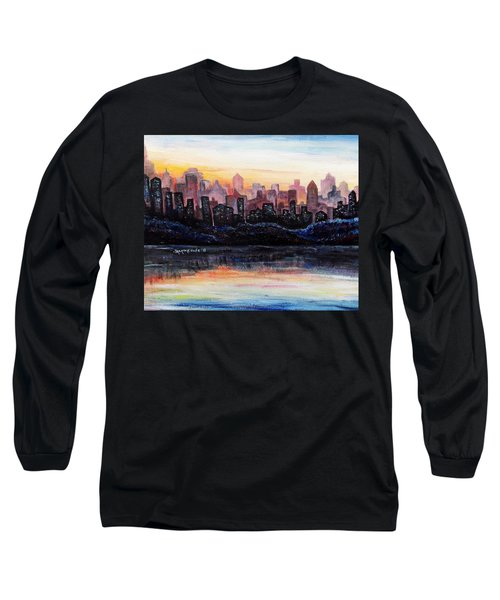 Long Sleeve T-Shirt featuring the painting Sunrise City by Shana Rowe Jackson