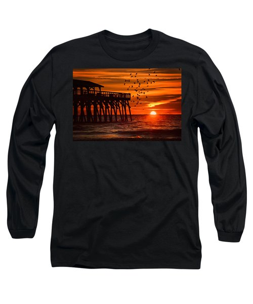 Sunrise In Myrtle Beach With Birds Flying Around The Pier Long Sleeve T-Shirt by Vizual Studio