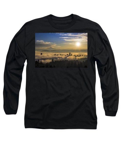 Sunrise Over Foggy Portland Long Sleeve T-Shirt
