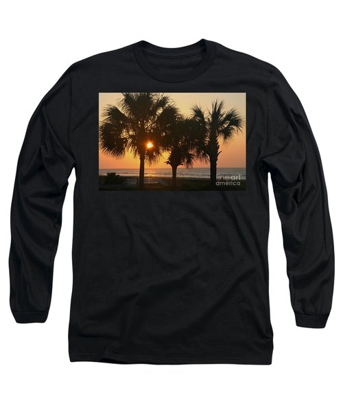 Sunrise Through The Palms Long Sleeve T-Shirt by Kevin McCarthy
