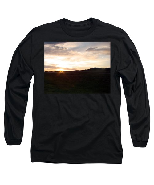Long Sleeve T-Shirt featuring the photograph Sunset Across I 90 by Cathy Anderson