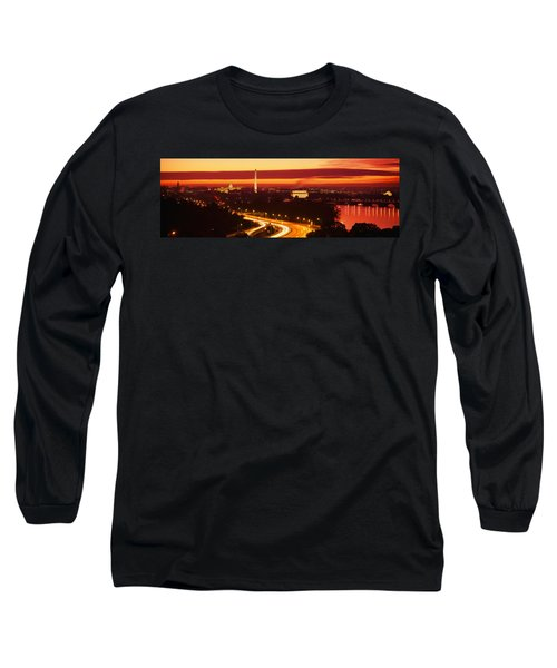 Sunset, Aerial, Washington Dc, District Long Sleeve T-Shirt