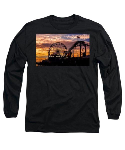 Sunset Amusement Park Farris Wheel On The Pier Fine Art Photography Print Long Sleeve T-Shirt by Jerry Cowart