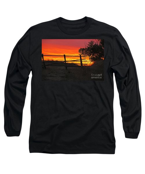 Sunset At Bear Butte Long Sleeve T-Shirt by Mary Carol Story