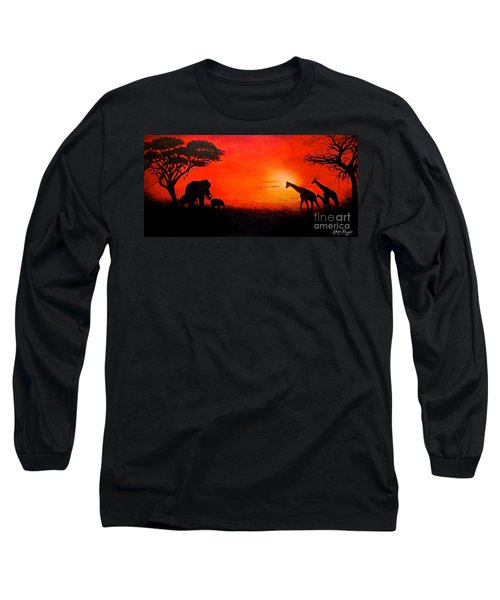 Sunset At Serengeti Long Sleeve T-Shirt by Sher Nasser