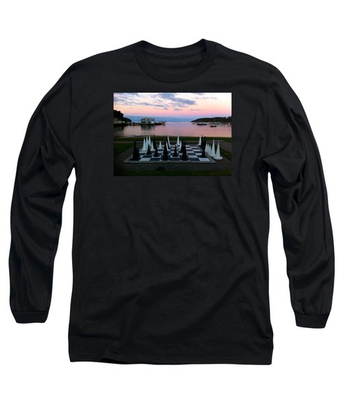 Sunset Chess At Half Moon Bay Long Sleeve T-Shirt by Venetia Featherstone-Witty