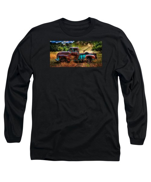 Sunset Chevy Pickup Long Sleeve T-Shirt by Ken Smith