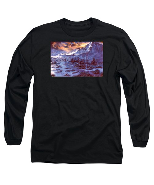 Long Sleeve T-Shirt featuring the painting Sunset Indian Village by Donna Tucker