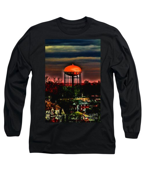 Sunset On A Charlotte Water Tower By Diana Sainz Long Sleeve T-Shirt