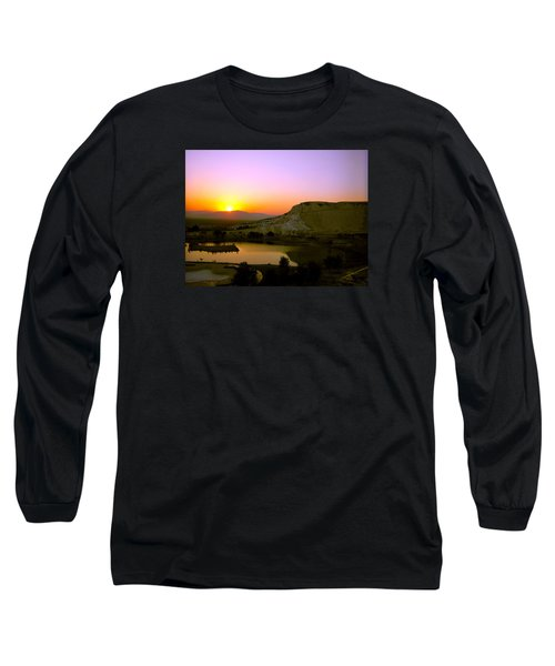 Long Sleeve T-Shirt featuring the photograph Sunset On Cotton Castles by Zafer Gurel