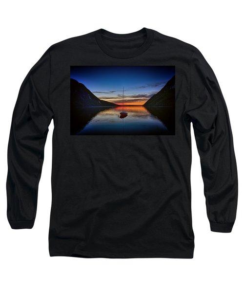 Sunset On Lake Willoughby Long Sleeve T-Shirt by John Haldane
