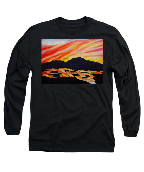 Long Sleeve T-Shirt featuring the painting Sunset On Rice Fields by Michele Myers