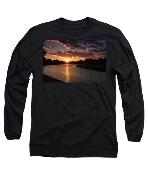 Long Sleeve T-Shirt featuring the photograph Sunset On The River by Dave Files